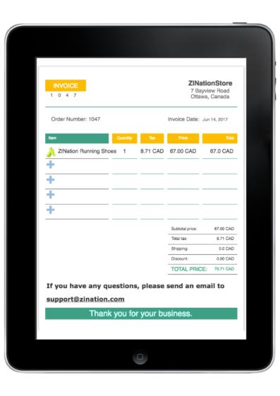 Invoice on iPad
