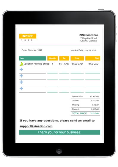 Invoice on iPad